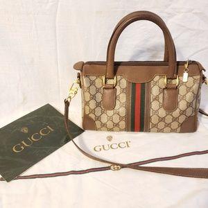 Gucci vintage GG canvas satchel